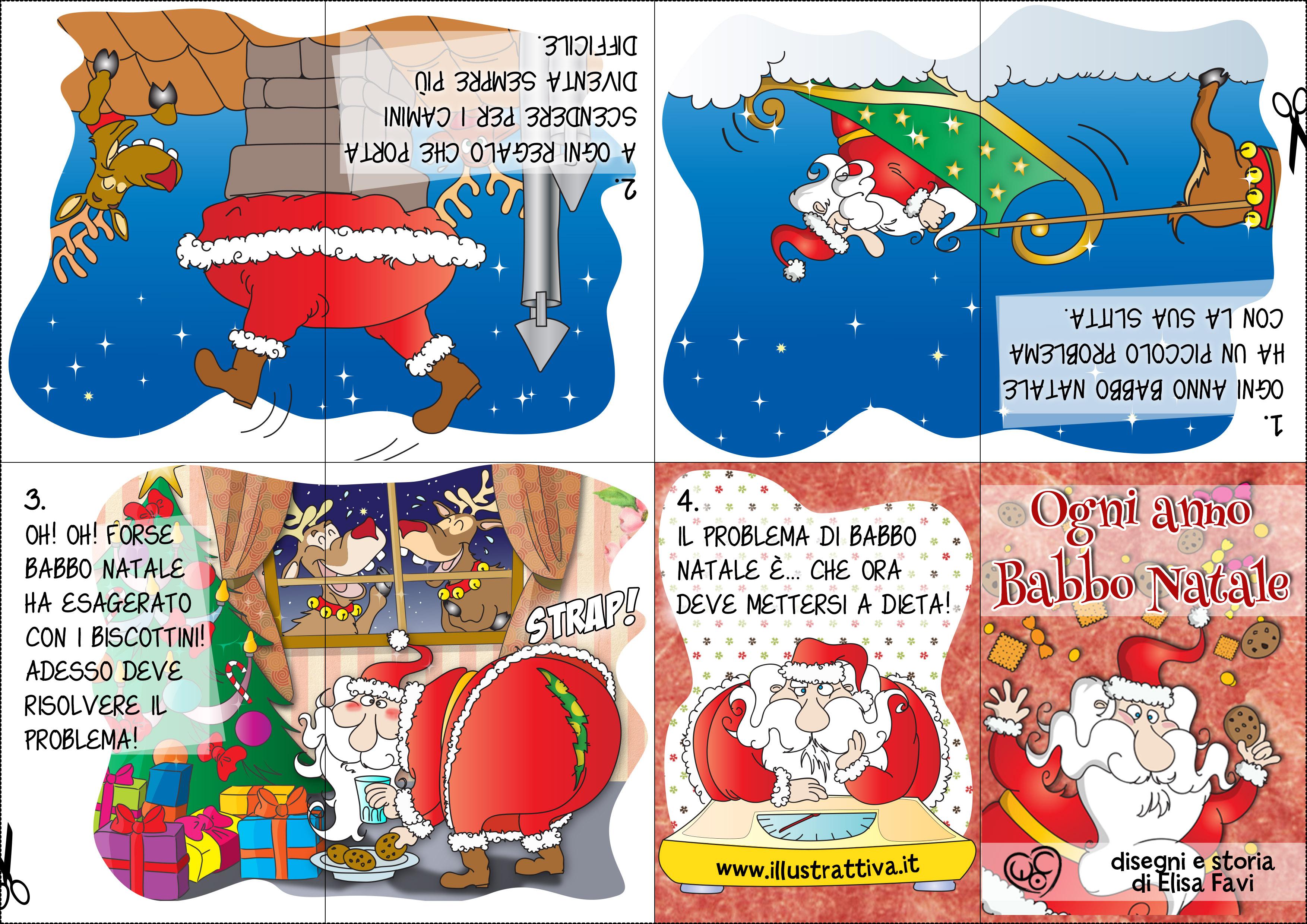 Buffo Natale, Un piccolo libro da stampare e da costruire. Ti è piaciuta la storia di babbo Natale e il suo problema? Fanne un mini-libro origami di 6 pagine!