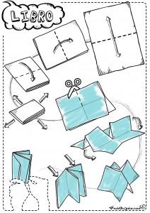 Buffo Natale, istruzioni origami per piegare un foglio A4 e fare un mini-libro origami di 6 pagine