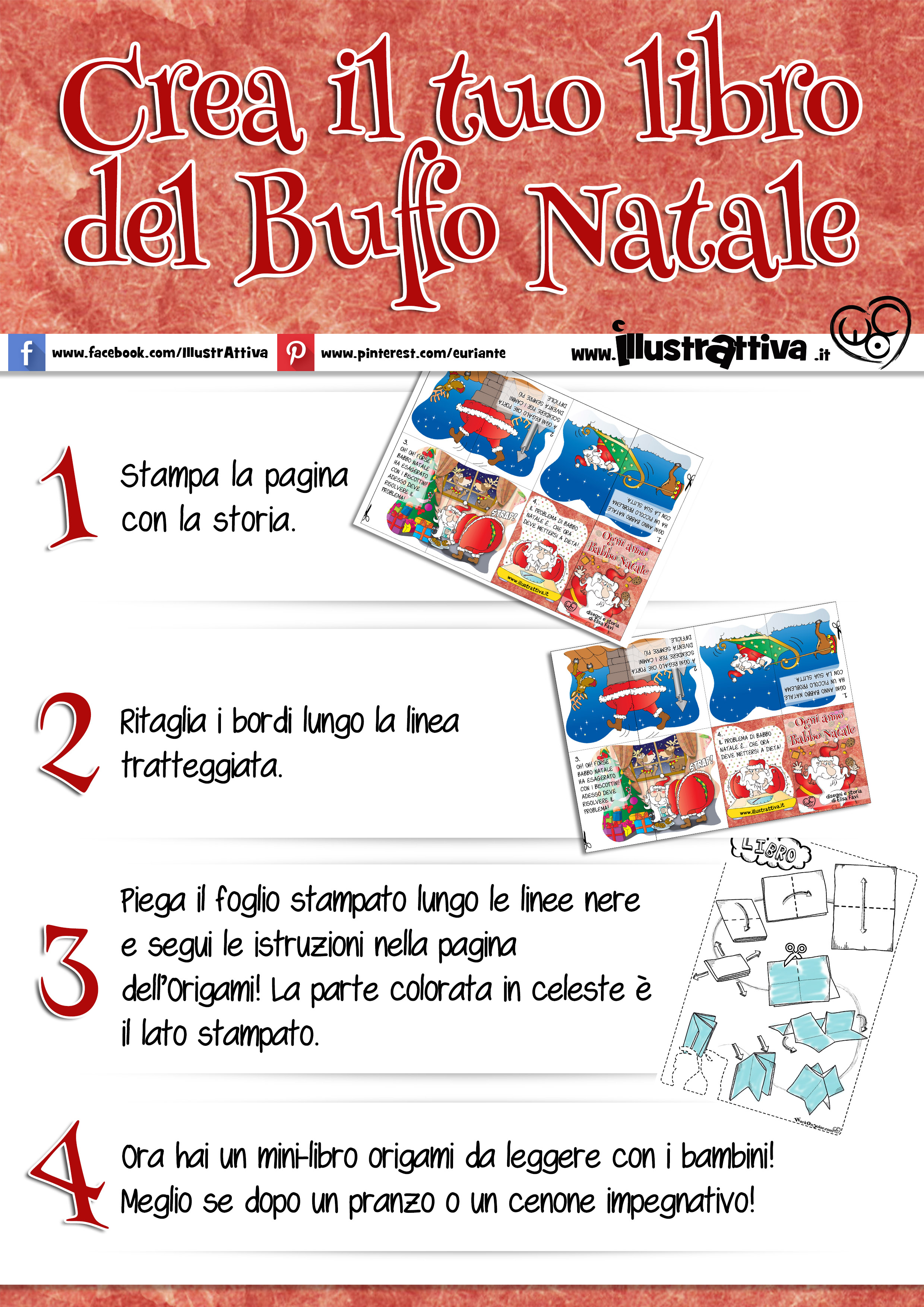 Buffo Natale, istruzioni per costruire il mini-libro origami di babbo Natale