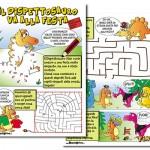 Aldo il Dispettosauro va alla festa giochi e storia stampabili