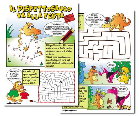 Il Dispettosauro va alla festa, storia e giochi stampabili