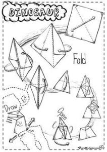 origami dinosauro mordicchiante, Origami in Azione, semplici origami per bambini